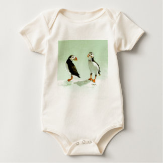 Pair of Antartic Puffin Birds Baby Bodysuit
