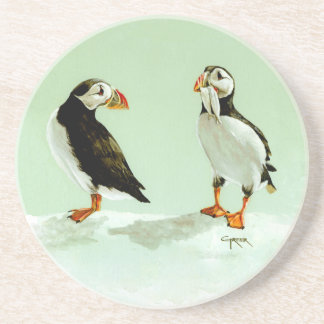 Pair of Antartic Puffin Birds Drink Coaster