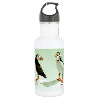 Pair of Antartic Puffin Birds Water Bottle