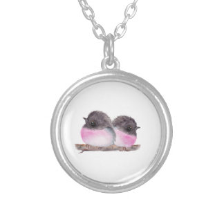 Pair of baby birds pink robins watercolor painting round pendant necklace