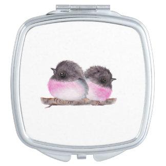 Pair of baby birds pink robins watercolor painting vanity mirror