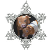 Pair of Baby Pigs Snowflake Pewter Christmas Ornament