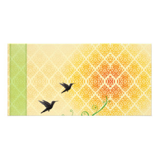 Pair of beautiful black birds in flight photo cards