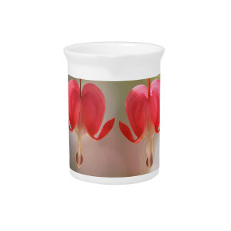Pair of Bleeding Hearts Flowers Drink Pitchers