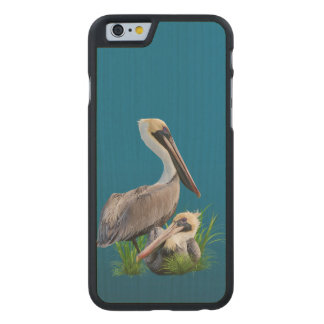 Pair of Brown Pelicans Customizable Carved® Maple iPhone 6 Slim Case