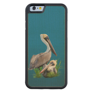 Pair of Brown Pelicans Customizable Carved® Maple iPhone 6 Bumper Case