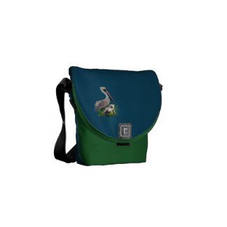 Pair of Brown Pelicans, Customizable Messenger Bag