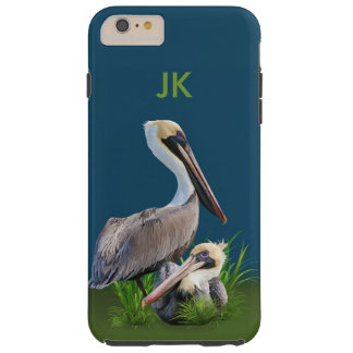 Pair of Brown Pelicans Customizable Monogram Tough iPhone 6 Plus Case