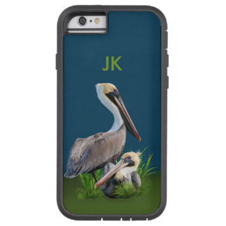 Pair of Brown Pelicans Customizable Monogram Tough Xtreme iPhone 6 Case