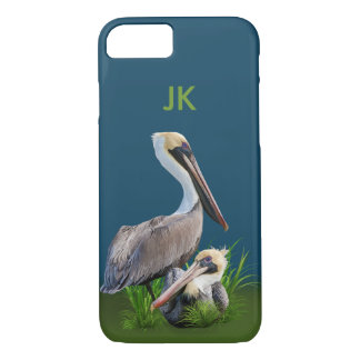 Pair of Brown Pelicans Customizable Monogram iPhone 8/7 Case
