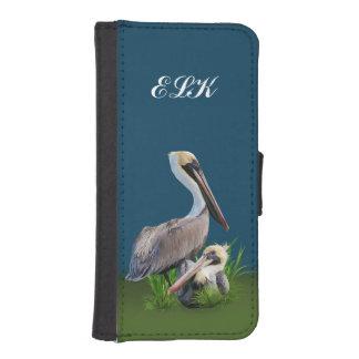 Pair of Brown Pelicans Customizable Monogram Phone Wallet