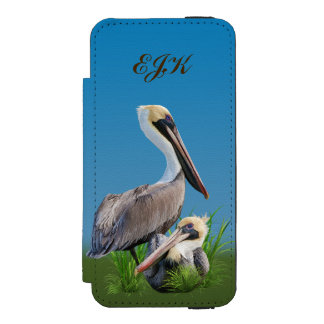 Pair of Brown Pelicans Customizable Monogram Wallet Case For iPhone SE/5/5s