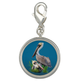 Pair of Brown Pelicans Customizable Photo Charms