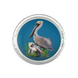 Pair of Brown Pelicans Customizable Ring