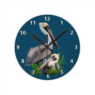 Pair of Brown Pelicans, Customizable Round Clock