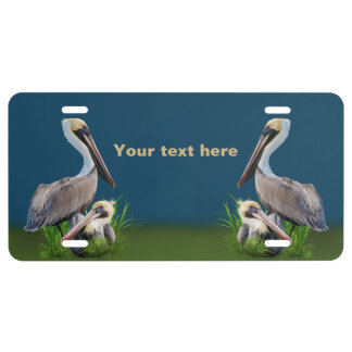 Pair of Brown Pelicans Customizable Text License Plate