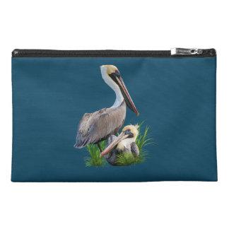 Pair of Brown Pelicans, Customizable Travel Accessories Bag