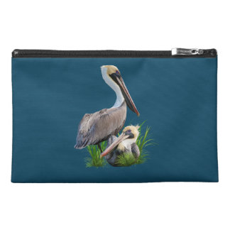 Pair of Brown Pelicans, Customizable Travel Accessory Bag