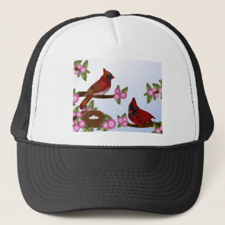 Pair of Cardinals and Nest Trucker Hat