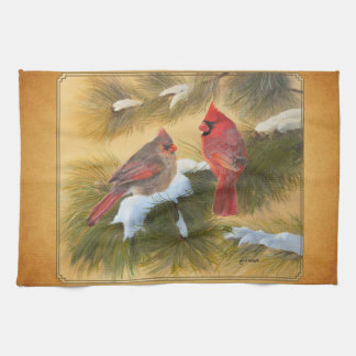 Pair of cardinals kitchen towel