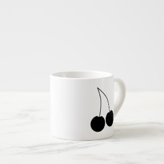 Pair of Cherries. Black and White. Espresso Cup