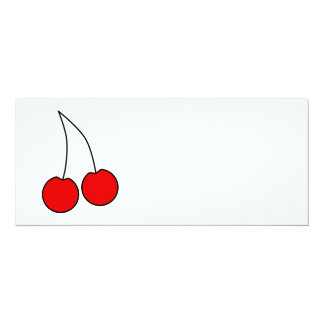 Pair of Cherries. Black, Red and White. Card