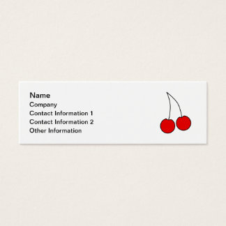 Pair of Cherries. Black, Red and White. Mini Business Card