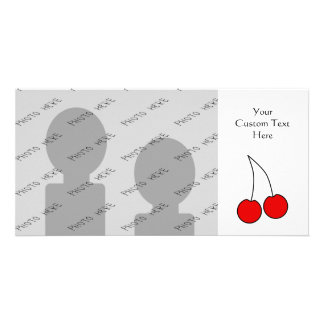 Pair of Cherries. Black, Red and White. Photo Card Template