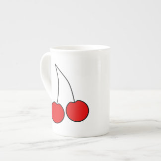 Pair of Cherries. Black, Red and White. Porcelain Mugs