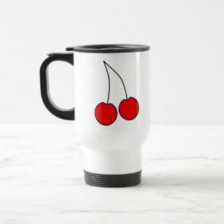 Pair of Cherries. Black, Red and White. Travel Mug