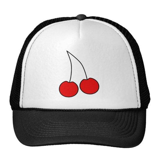 Pair of Cherries. Black, Red and White. Trucker Hat