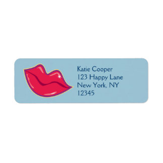 Pair of Cherry Red Lips Label