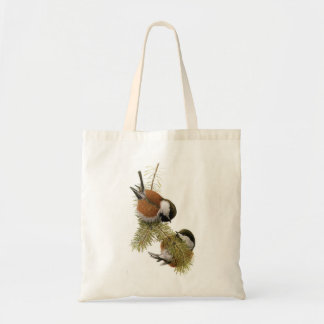 Pair of Chestnut-backed Chickadee on Pine Tree Canvas Bag