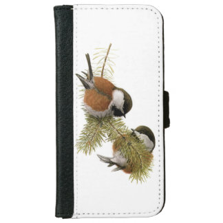 Pair of Chestnut-backed Chickadee on Pine Tree iPhone 6/6s Wallet Case