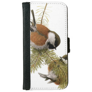 Pair of Chestnut-backed Chickadee on Pine Tree iPhone 6 Wallet Case