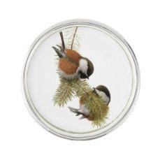 Pair of Chestnut-backed Chickadee on Pine Tree Lapel Pin