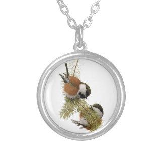Pair of Chestnut-backed Chickadee on Pine Tree Custom Necklace