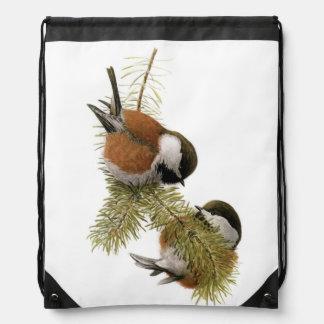 Pair of Chestnut-backed Chickadee on Pine Tree Cinch Bag