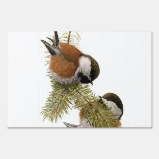 Pair of Chestnut-backed Chickadee on Pine Tree Yard Sign