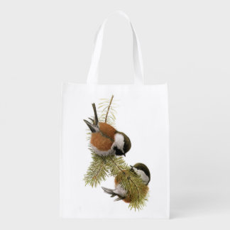 Pair of Chestnut-backed Chickadee on Pine Tree Grocery Bags