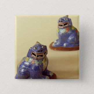 Pair of Chinese cloisonne dogs, 18th century Button
