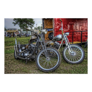 Pair of Choppers in HDR Poster