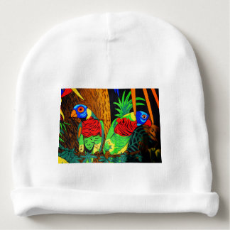 Pair of Colorful Parakeets Baby Beanie