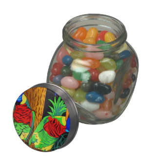 Pair of Colorful Parakeets Jelly Belly Candy Jar