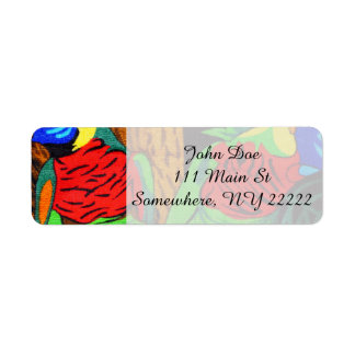 Pair of Colorful Parakeets Label