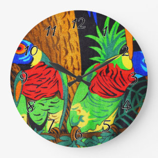 Pair of Colorful Parakeets Large Clock