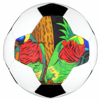Pair of Colorful Parakeets Soccer Ball