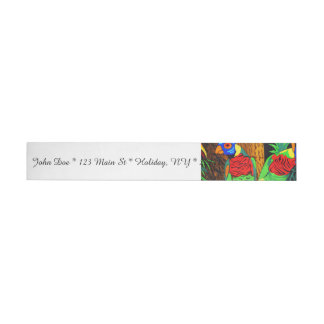 Pair of Colorful Parakeets Wrap Around Address Label