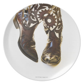 Pair of cowboy shoes 2 dinner plates