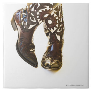 Pair of cowboy shoes 2 large square tile